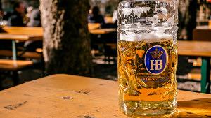 Wiener Platz Biergarten Hofbräu Bier Mass