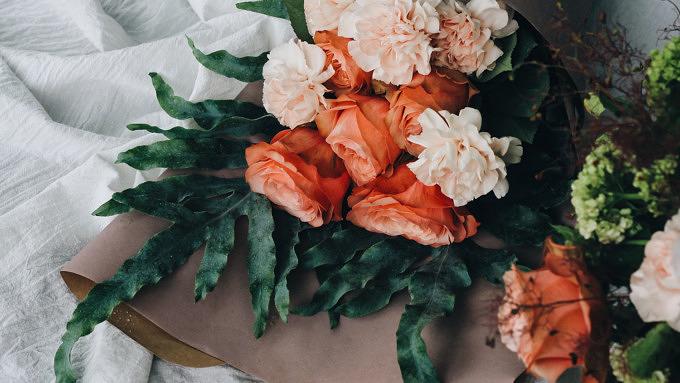 Blumenstrauß Blumen Rosen Pfingsrosen